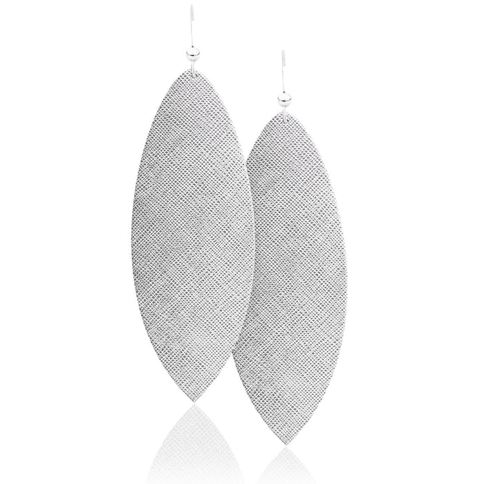 Silver Luster Leather Earrings