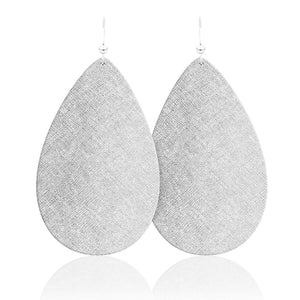 Silver Luster Teardrop Leather Earrings