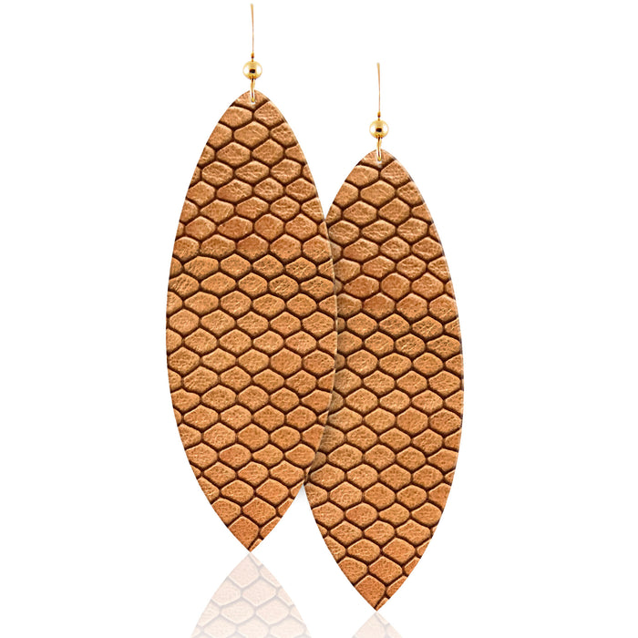 Phoenix Snake Print Leather Earrings
