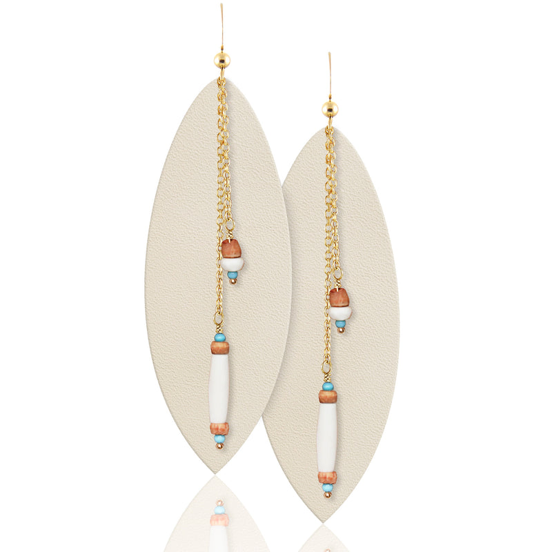 White Leather and Gemstone Earrings
