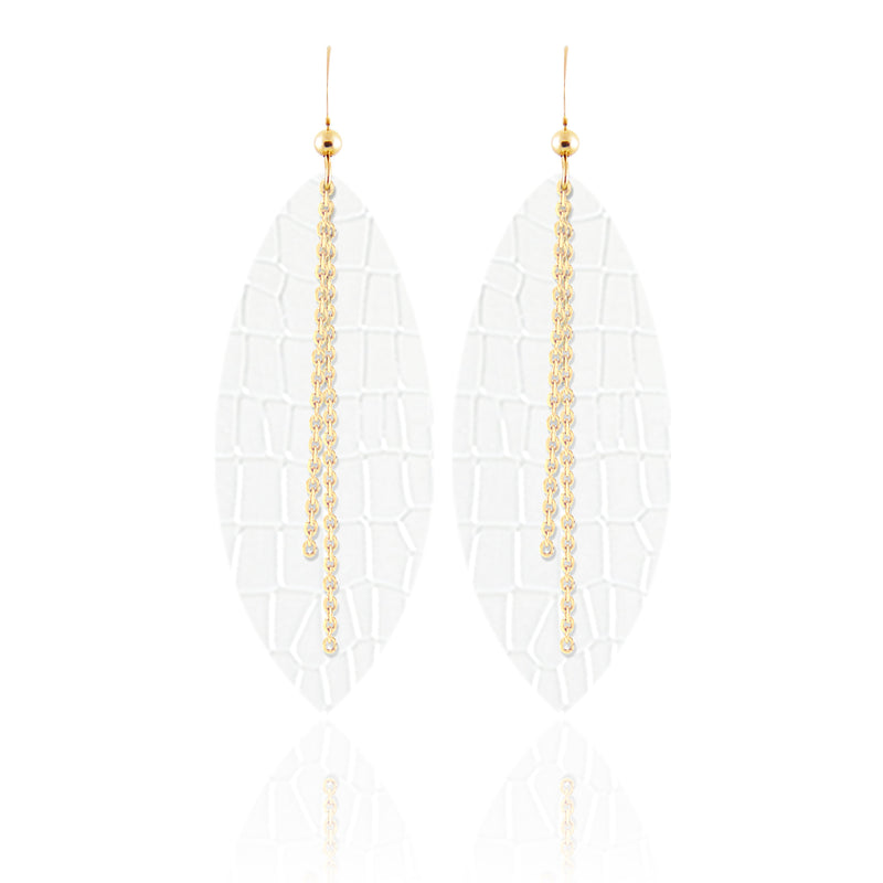 White Croc Linked Leather Earrings