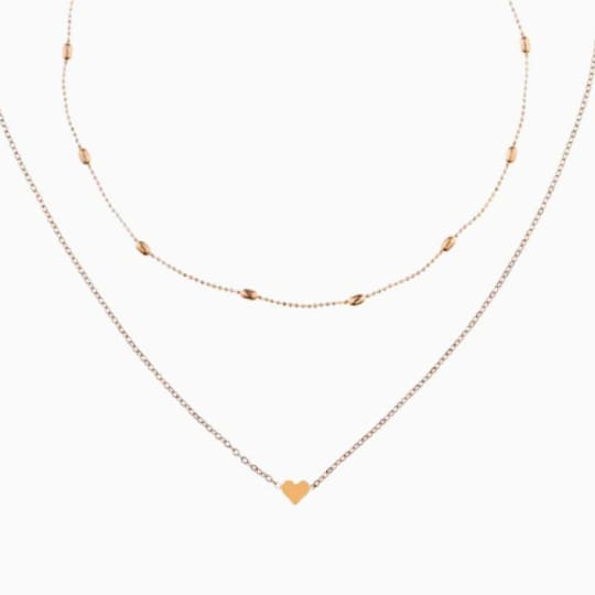Layered Heart Choker - Gold - Necklace