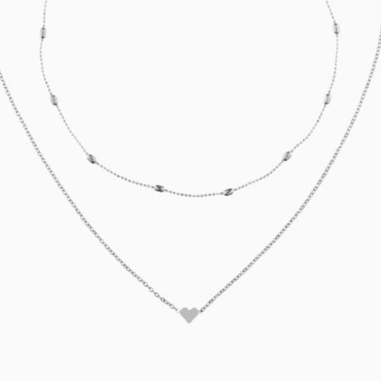 Layered Heart Choker - Silver - Necklace