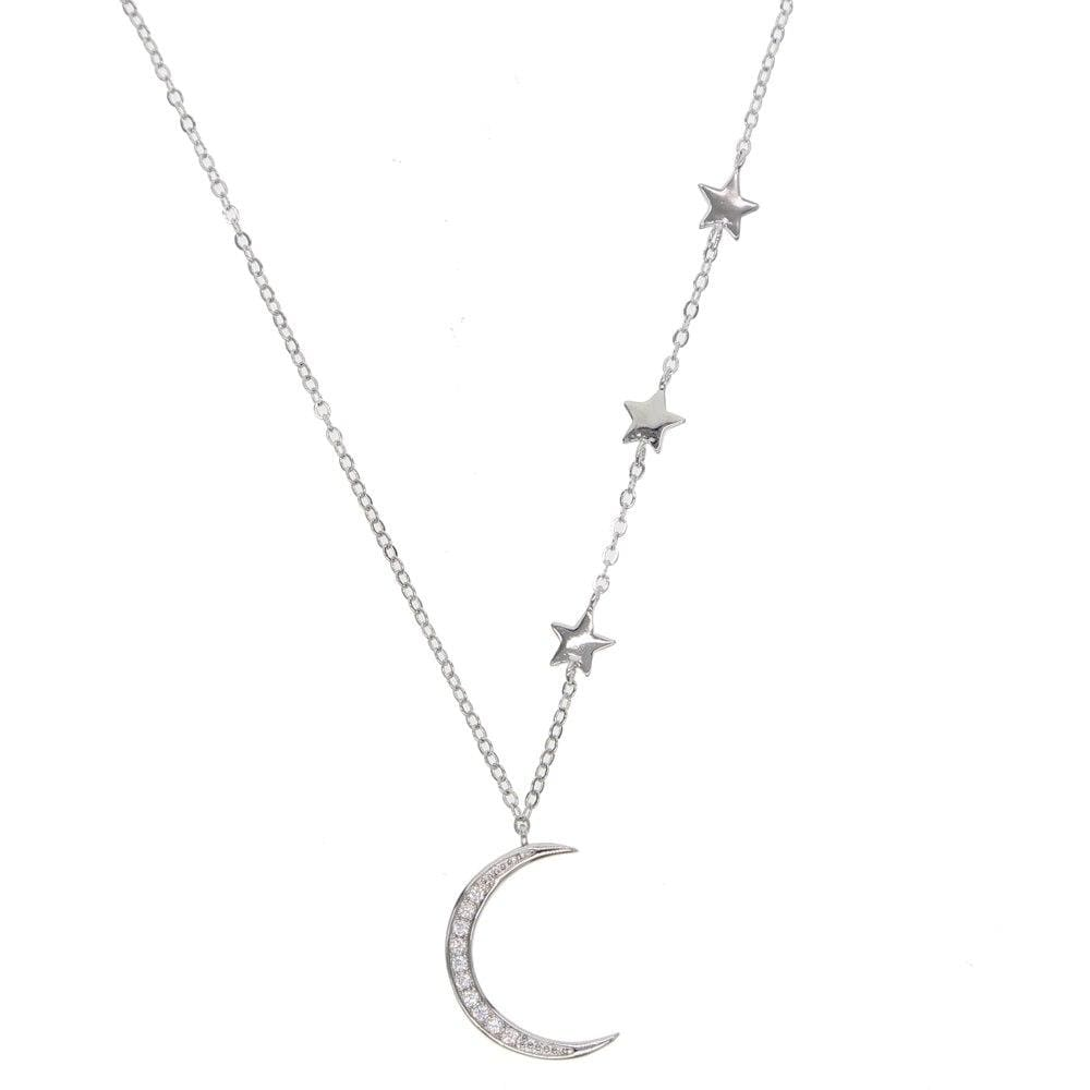 Love You To The Moon Necklace - Silver - Necklace