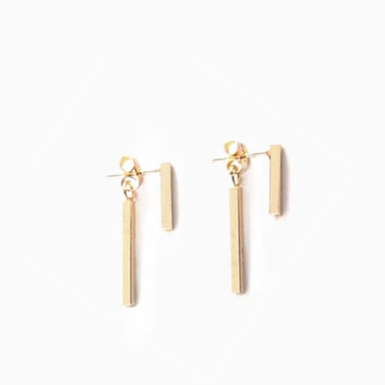 T Bar Earrings - Gold - Earrings