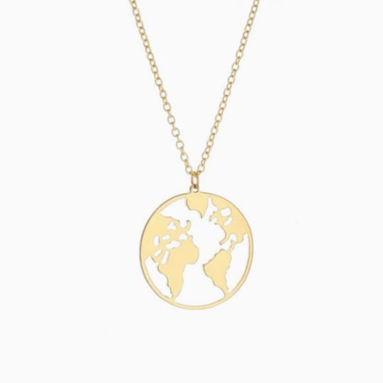 World Map Necklace - Gold - Necklace