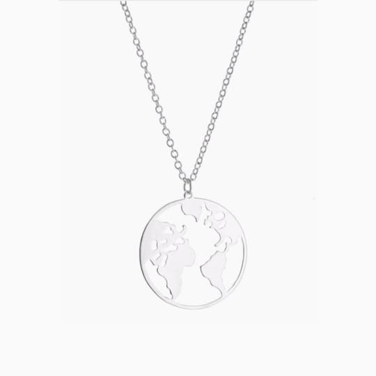 World Map Necklace - Silver - Necklace