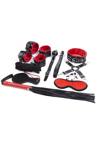Bondage Kit 10 Piece Red Black