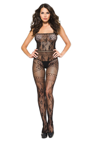 Music Legs Multiple Lace Spaghetti Bodystocking