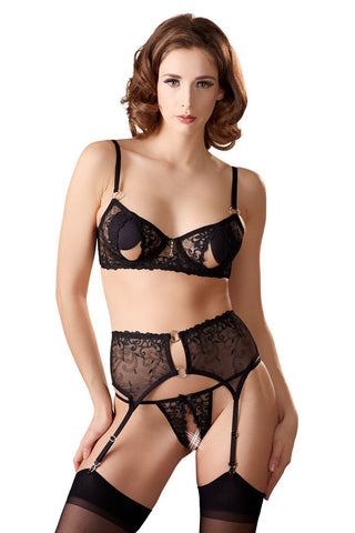 Abierta Fina Bra Set with Slits in the Cups