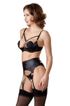 Abierta Fina Shelf Bra Set with Suspender Straps