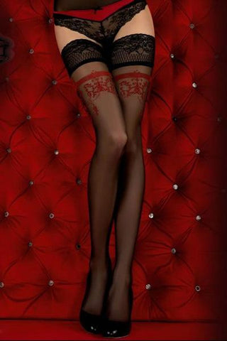 Ballerina 343 Hold Ups Black/Red