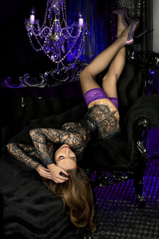 Ballerina Black Purple 501 Hold Ups