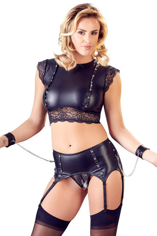 Cottelli Bondage Top and Crotchless Suspender Briefs