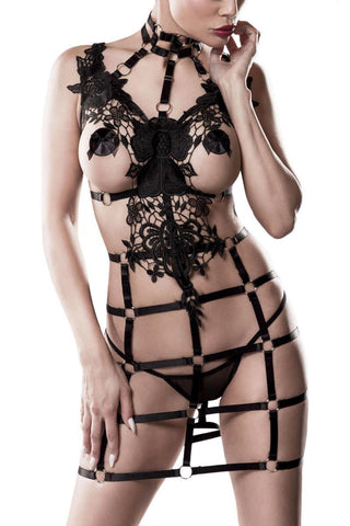 Grey Velvet 2-piece Harness Set