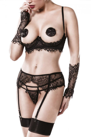 Grey Velvet Five-Part Bra Set