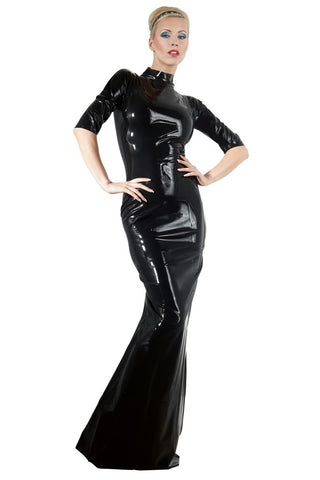 LATE-X Long Black Latex Dress