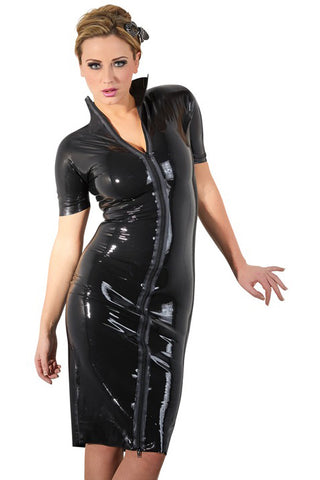 LATE-X Black Latex Dress