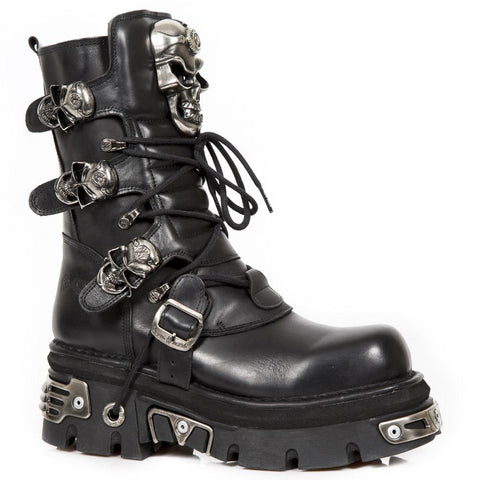 New Rock Black Boots Skull Design M.375-S1