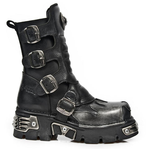 New Rock M.591X S2 Silver Flame Boots