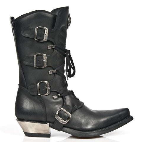 New Rock Black Cowboy Boots M.7993-S1