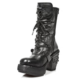 New Rock All Black NRK Skull Boots M.8366-S8