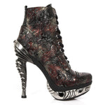 New Rock Red Vintage Flower Ankle Boots
