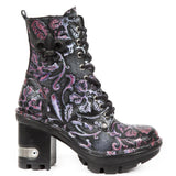 New Rock Embossed Vintage Flower Boots