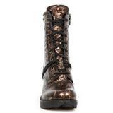 New Rock Brown Vintage Flower Ankle Boots M.TR001-S5