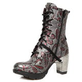 New Rock Red Metallic Vintage Flower Ankle Boots M.TR001-S6