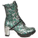 New Rock Green Metallic Vintage Flower Ankle Boots M.TR001-S7