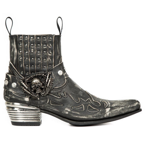 New Rock Distressed Cowboy Ankle Boots M.WST045-S1.