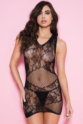Music Legs Lace Fishnet Mini Dress