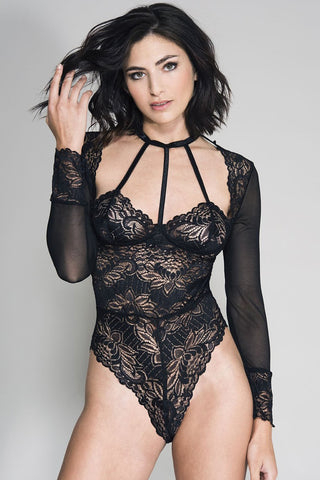 Music Legs Long Sleeve Mesh Lace Teddy