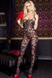 Music Legs Floral Bodystocking 1066