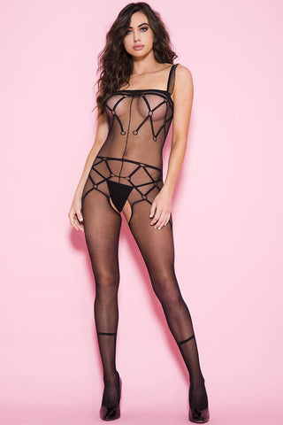 Music Legs Print Pattern Bodystocking