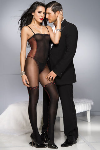 Music Legs Faux Teddy Bodystocking