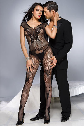 Music Legs Fishnet Butterfly Bodystocking