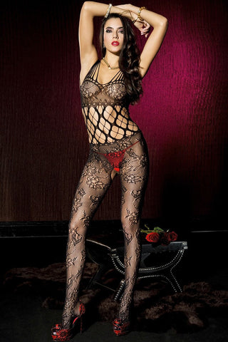 Music Legs Floral Bodystocking