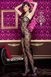 Music Legs Floral Lace Bodystocking Black