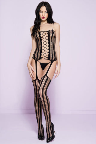 Music Legs Hexagon Striped Bodystocking