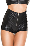 Music Legs High Waist Zip Up Wetlook Shorts