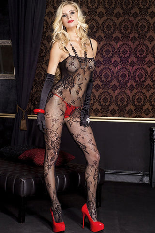 Music Legs Lace Crotchless Bodystocking