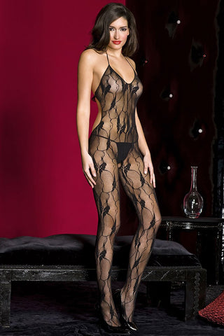 Music Legs Lace Halter Neck Bodystocking