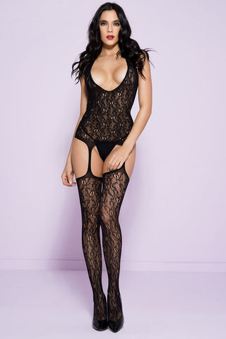 Music Legs Lace Suspender Bodystocking
