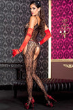 Music Legs Lace Suspender Bodystocking Black