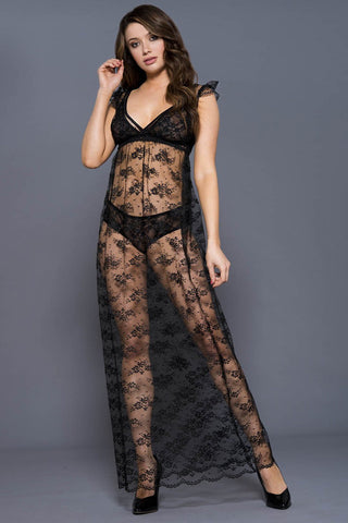 Music Legs Lacy Flower Gown Set