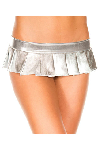 Music Legs Metallic Pleated Micro Mini Skirt Silver