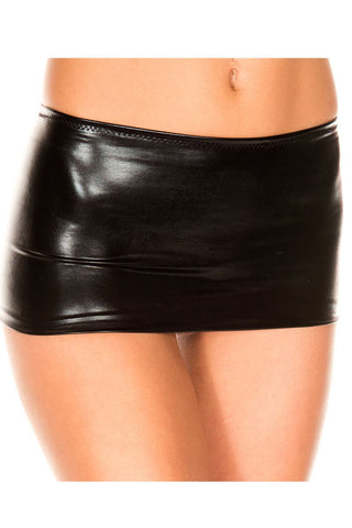 Music Legs Metallic Mini Skirt Black