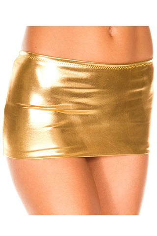 Music Legs Metallic Mini Skirt Gold
